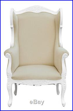 French Louis XV Wing Chair White with Oatmeal Natural fabric