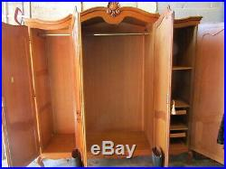 French Louis XV carved golden oak armoire w shelves + drawers, wardrobe, flat pack