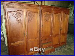 French Louis XV carved oak 5 door armoire w shelves + drawers, wardrobe, flat pack
