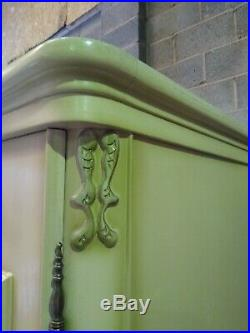 French Louis XV style painted 4 door armoire w shelves, wardrobe, flat pack