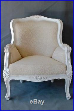 French Louis style armchair painted and upholstered bergere chair