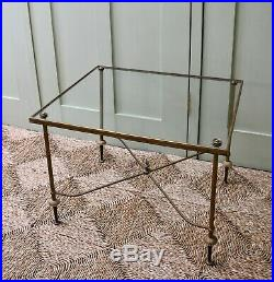 French Mid 20th C Maison Bagues Tripartite Brass Glass Side Sofa Coffee Table