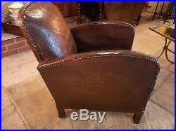 French Original Vintage 1930's Leather Club Chair