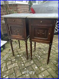 French Pair Antique Oak Marble Top Bedside Cabinets