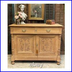 French Raw Oak Wood Sideboard Carved Cabinet Cupboard Rustic
