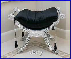 French Silver Black Window Seat Stool Bench Ottoman Seat Shabby Chic Bedroom