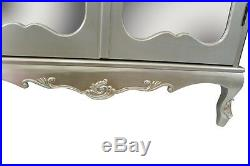 French Silver Boudoir Chateau Mirrored Door Double Armoire Wardrobe