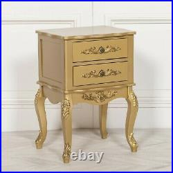 French Style Chic Antique Gold 2 Drawer Bedside Table Nightstand