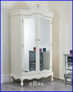 French Style Mirrored Wardrobe Bedroom Furniture Cream Silver Shabby Chic Mirror