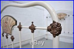 French Victorian Antique Painted Iron Small double Bed