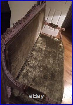 French Vintage Beech Frame Velvet Upholstered 2/3 Seat Canape Sofa Used