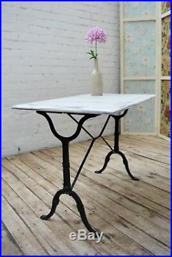 French Vintage Cast Iron Marble Bistro Table / Kitchen or Garden Table square