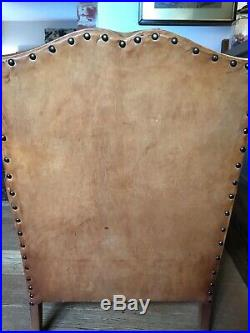 French Vintage Original Leather Club Armchair Authentic Antique Chair