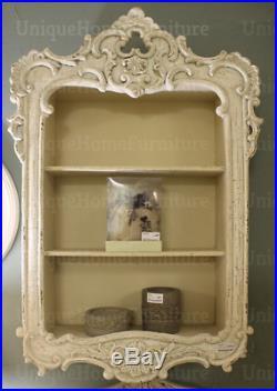French Wall Shelf Antique White Room Shabby Chic Storage Vintage Display Unit