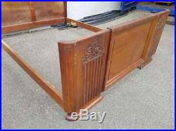 French Walnut Art Deco Style Double Bed Circa 1930
