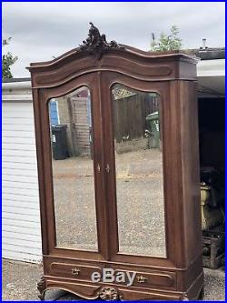 French Walnut Louis XV Rococco Armoire Double Door