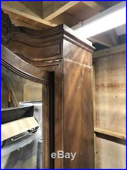 French Walnut Louis XV Rococco Armoire Double Door Mirror Shelves And Drawers