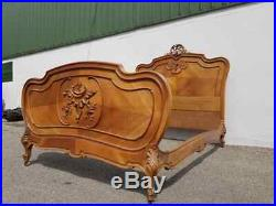 French Walnut Louis XV Style Hand Carved Double Bed Circa 1900