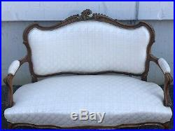 French Walnut Upholstered Settee, Couch, Sofa, Circa 1890