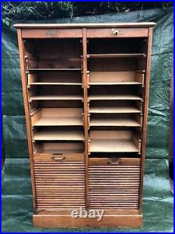 French antique Double tambour cabinet cupboard / vintage wooden filing cabinet