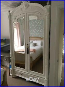 French antique shabby chic white wardrobe