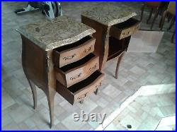 French antique vintage Louis XV style marble topped bedside tables