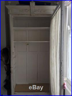French antique vintage white wardrobe/cupboard/armoire with chicken wire