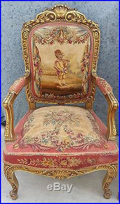 French aubusson tapestry arm chairs