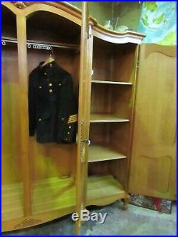 French carved golden oak Louis XV armoire w Shelves, drawer, wardrobe, Flat packs
