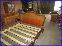 French double bed, Antique carved walnut with slatted base. Louis xv, rococo style