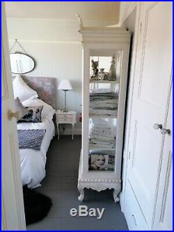 French style Glass Laura Ashley Armoire in an antiques white