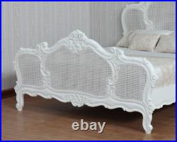 French style Mahogany Arch Rattan Bed with Antique White Paint Finish B006P