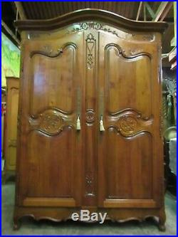 French superbly carved vintage cherrywood Louis XV armoire, wardrobe, Flat pack
