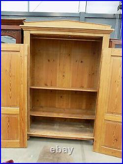French, vintage, pine, double, wardrobe, adjustable, shelves, bun feet, hanging rail