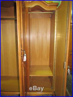 French wardrobe carved oak vintage armoire bow top 4 door louis XV, flat packs