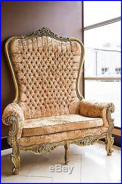 Gold Champagne Throne Chair Wedding Tub Armchair French Rococo Crystal 2 Seater