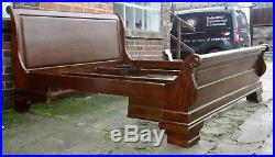 Good large king size cherry wood French sleigh bed with sumptuous curves