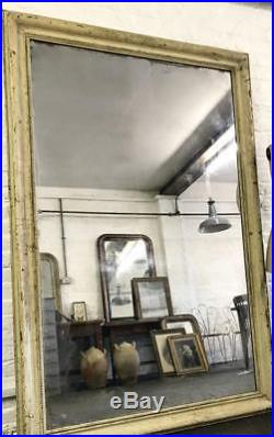 HUGE ANTIQUE C19 FRENCH 2m FOXED MERCURY MIRROR WATER GILDED ORIGINAL PAINT