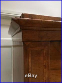 Handsome Antique French Walnut Armoire Wardrobe Hall Cupboard