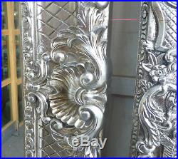 Huge 7.8ft x 4.2ft Reproduction Victorian French Style Wall Mirror Silver Finish