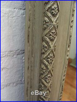 Huge Antique French Crested Painted Gesso Mirror C1900