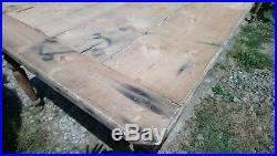 Huge French antique pine plank topped farmhouse dining table with drawer