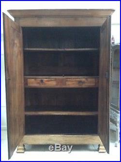Impressive Antique French C18th Mahogany Armoire Wardrobe Hall Cupboard