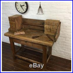 Industrial French Antique Rustic Parisian Jewellers Workbench Vintage Desk