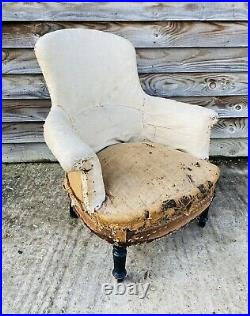 LOVELY ANTIQUE 19th CENTURY FRENCH DECONSTRUCTED UPHOLSTERED ARMCHAIR, C1900