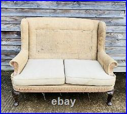LOVELY ANTIQUE 19th CENTURY FRENCH DECONSTRUCTED WINGBACK 2 SEATER SOFA, C1900