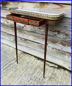 LOVELY ANTIQUE 19th CENTURY FRENCH MARBLE TOPPED DEMI LUNE CONSOLE TABLE, C1900
