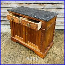 LOVELY ANTIQUE 19th CENTURY FRENCH MARBLE TOPPED SIDEBOARD CUPBOARD, C1900