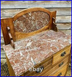LOVELY ANTIQUE 19th CENTURY FRENCH MARBLE TOP & BACK WASH STAND, C1900