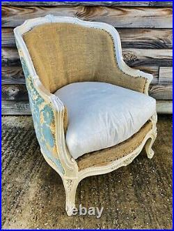 LOVELY ANTIQUE 19th CENTURY FRENCH UPHOLSTERED ARMCHAIR ORIGINAL PAINT, C1900